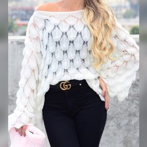 LILA   Crocheted Feather Sweater